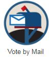 Mail box image says vote by mail below
