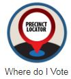 Picture of a sign that says 'Precinct Locator' with text below that says 'Where do I vote'