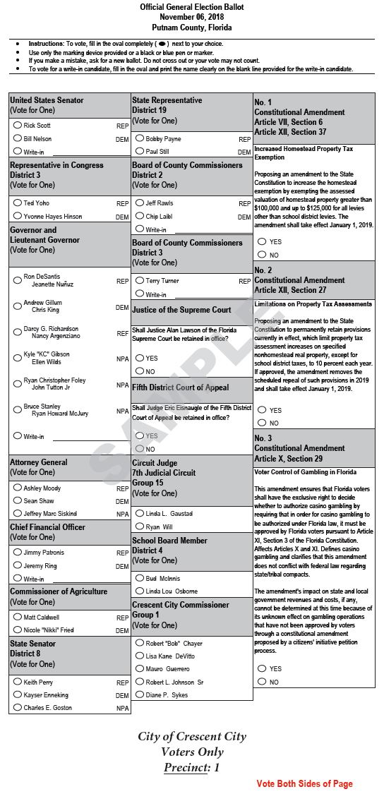 2018 General Election Sample Ballots